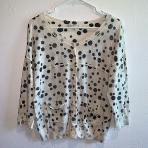 Cabi light cardigan sweater ivory dot dotted